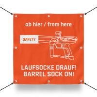 LAUFSOCKE DRAUF! Schild für Paintball Spielfeld / Airsoft Spielfeld (60x60cm)