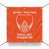 MASKE AUF Schild für Paintball Spielfeld / Airsoft Spielfeld (60x60cm)
