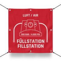 300 BAR FÜLLSTATIION Schild für Paintball Spielfeld / Airsoft Spielfeld (60x60cm)