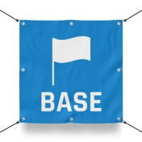 TEAM BASE BLAU Schild für Paintball Spielfeld / Airsoft Spielfeld (60x60cm)