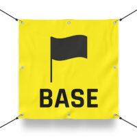 TEAM BASE GELB Schild für Paintball Spielfeld / Airsoft Spielfeld (60x60cm)