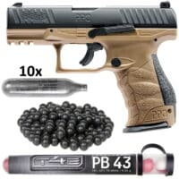 Walther PPQ M2 T4E Pistole HOME DEFENCE Kit (tan)